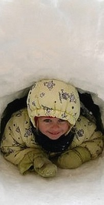 Child in an igloo