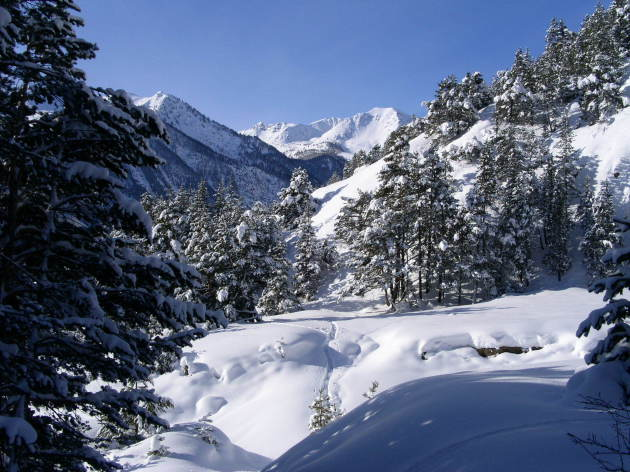 Snowshoeing in a wild valley