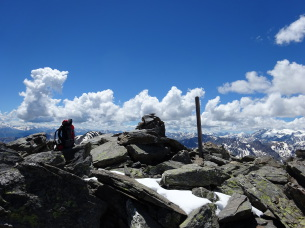 On the summit of the Pic du Lac Blanc