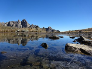 The Mine lake at the Chardonnet Pass